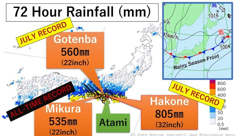 72 hour rainfall. The map and data were provided by JMA.