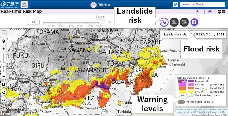 Real-time Risk Map provided by JMA