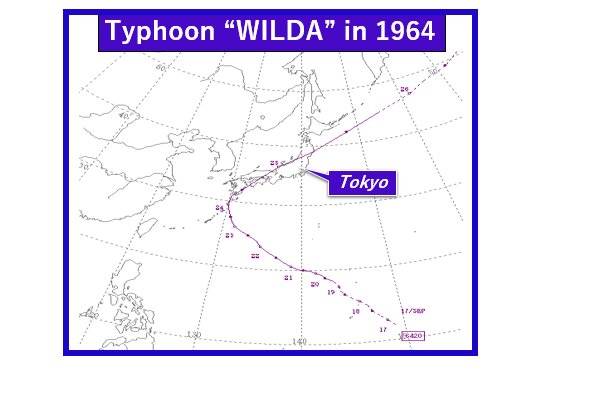 Typhoon Wilda's track by JMA (Additions made)