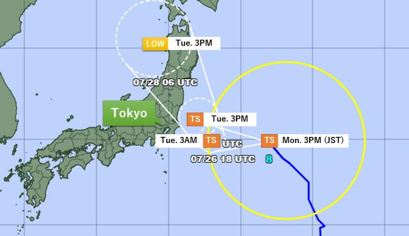 Projected path of Nepartak by JMA (Additions made)