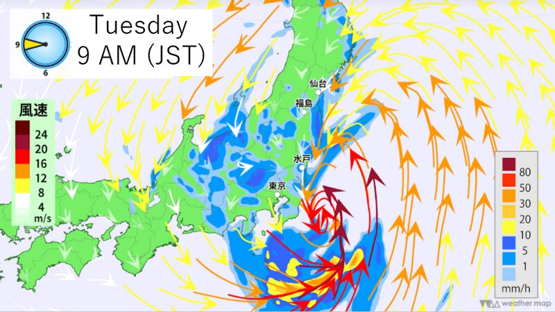 Rain/wind forecast by Weather Map (Additions made)